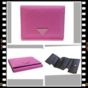 💖 Prada Wallet Pink Nylon Leather Logo Bifold